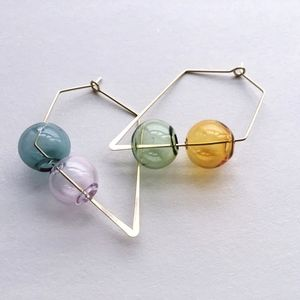 Double Glass Balls Square Hoop Earrings